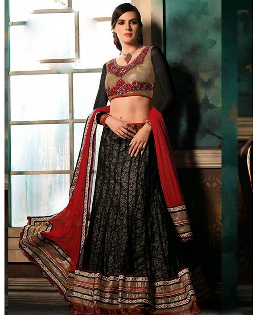 c6b61d52b8d Black and red embroidered lehenga with golden blouse 1. Black and red net  lehenga2. Comes with unstitched blouse material and dupatta
