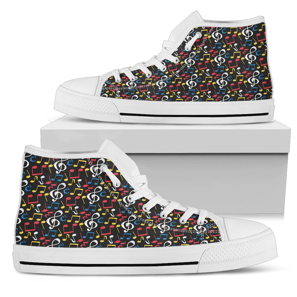b27e2debc6 Now selling  Music Notes Mix of Color Shoes. Womens High Top Canvas http
