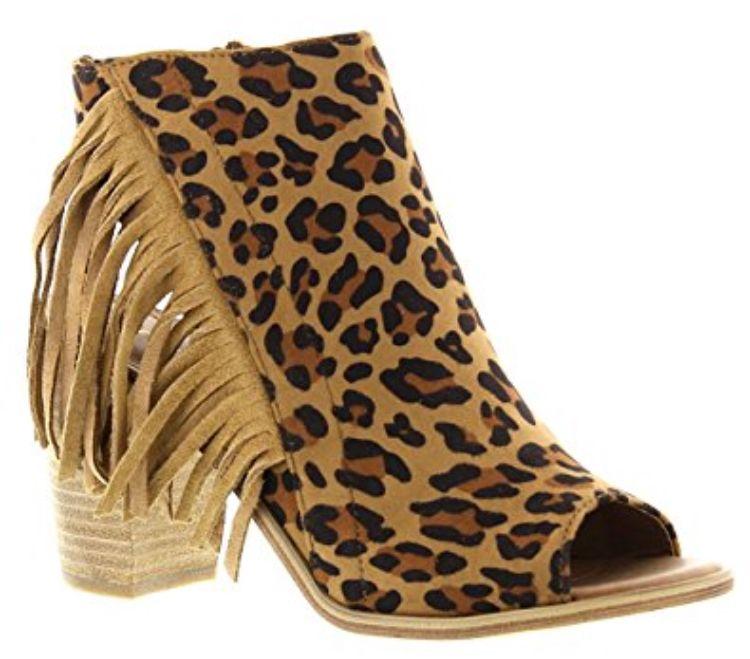 f4e40c5116d7 Leopard Fringe Heels | Leopard... in 2019 | Fashion, Shoes, Socks, heels