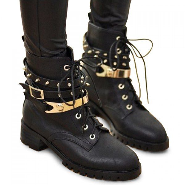 Stylish Lace-Up Design Black Studded Combat Boots For Women ...
