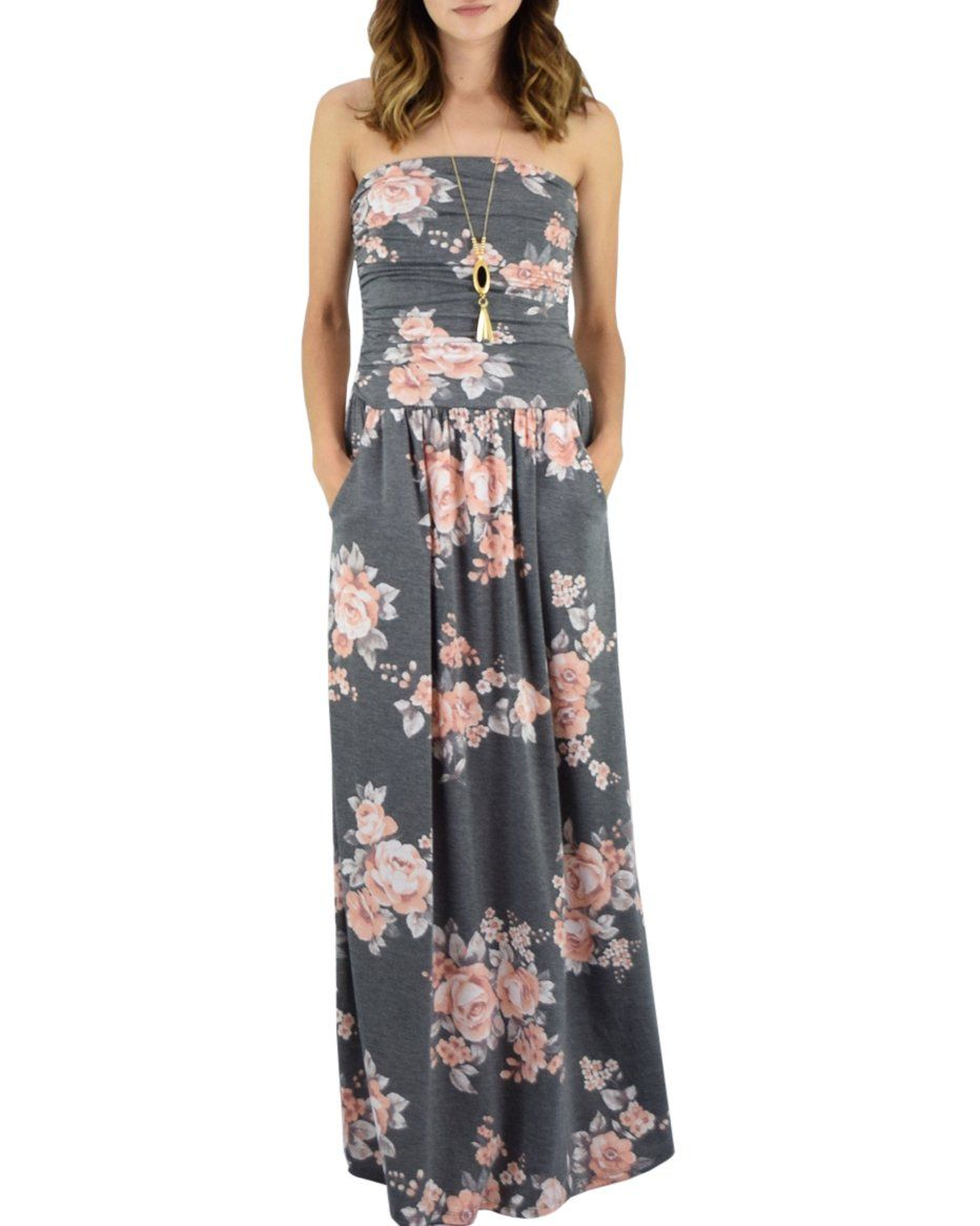 Chuanqi Womens Summer Floral Strapless Maxi Dresses Casual Sleeveless Dress With Pockets Sleeveless Dresses Casual Strapless Dress Formal Strapless Maxi Dress [ 1166 x 932 Pixel ]