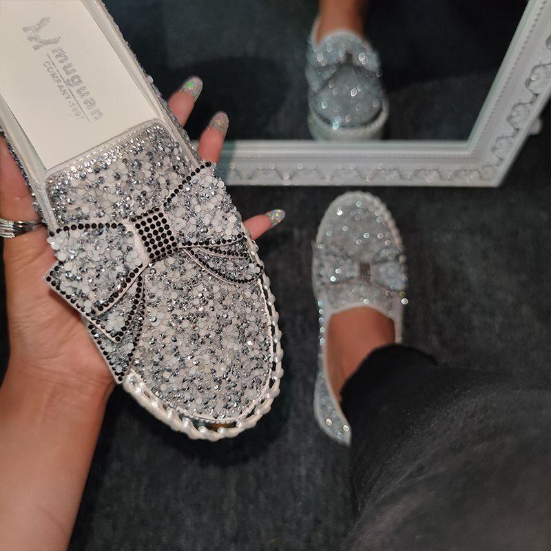 Women Shining Rhinestone Slip-on Loafers with Cute