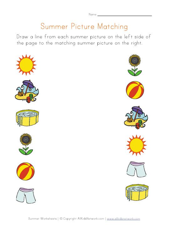 Preschool Worksheets Matching Similars : Summer picture matching worksheet cognitive activities