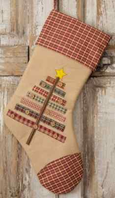 tan felt and homespun plaid primitive country christmas tree stocking ebay - Country Christmas Stockings