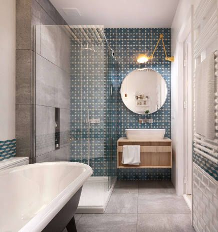 Bathroom Accent Wall Blue And White Geometric Pattern Tile On A Vanity Architizer Via Atticmag