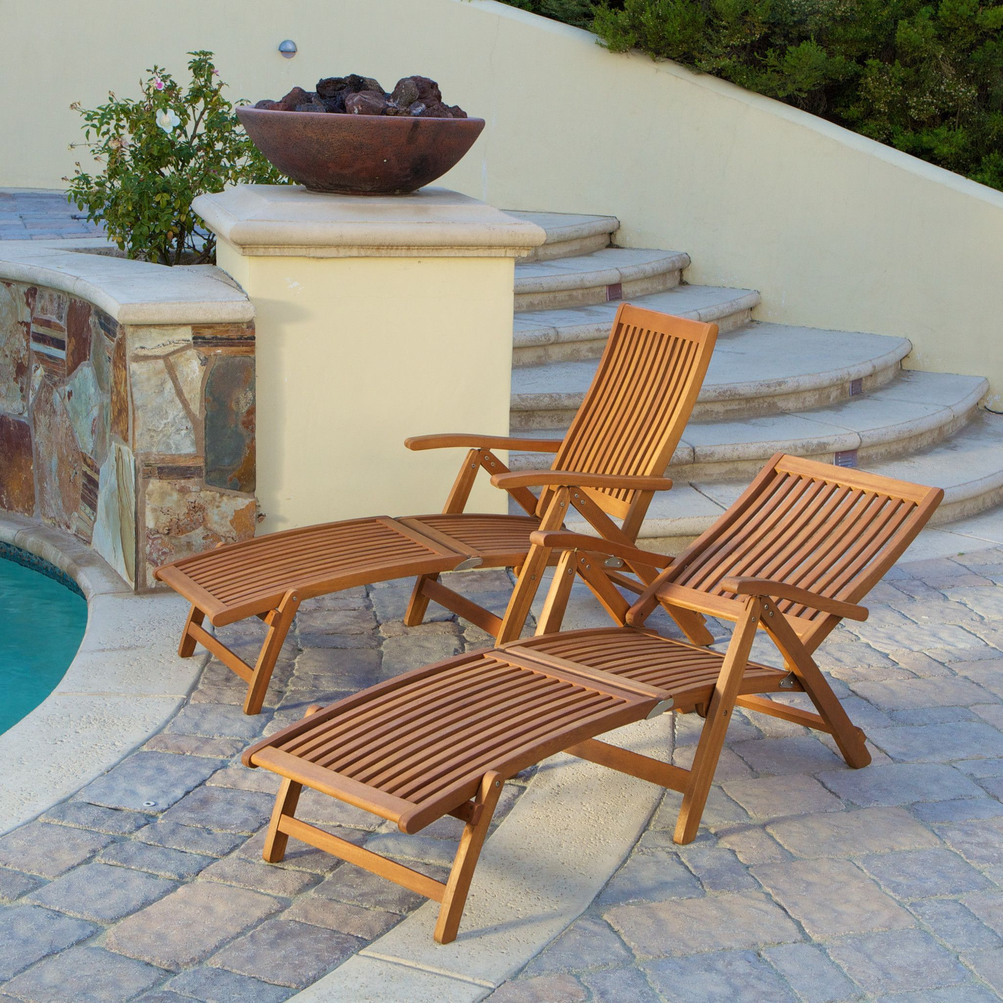 217304 - Telouse Light Brown Hard Wood Foldable Lounge Chair