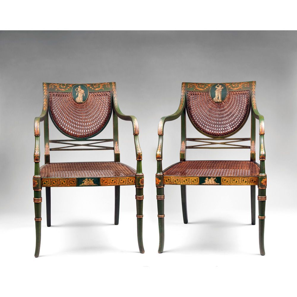 Pair Of Edwardian Sheraton Style Painted Cane Inset Armchairs From  # Thomas Hope Muebles