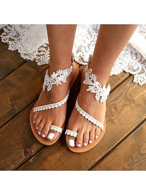 Photo of #wedding shoes Lace Plain  Flat  Peep Toe  Date Travel Flat Sandals