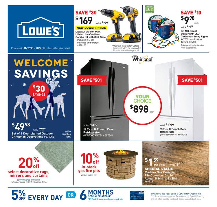 Lowe's Weekly Ad November 5 11, 2015 Weekly Ads and