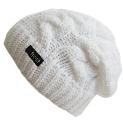 e2d9adc1202 Frost Hats Winter Hat for Women WHITE Slouchy Beanie Cable Hat Knitted  Winter Hat Frost Hats One Size White Frost Hats