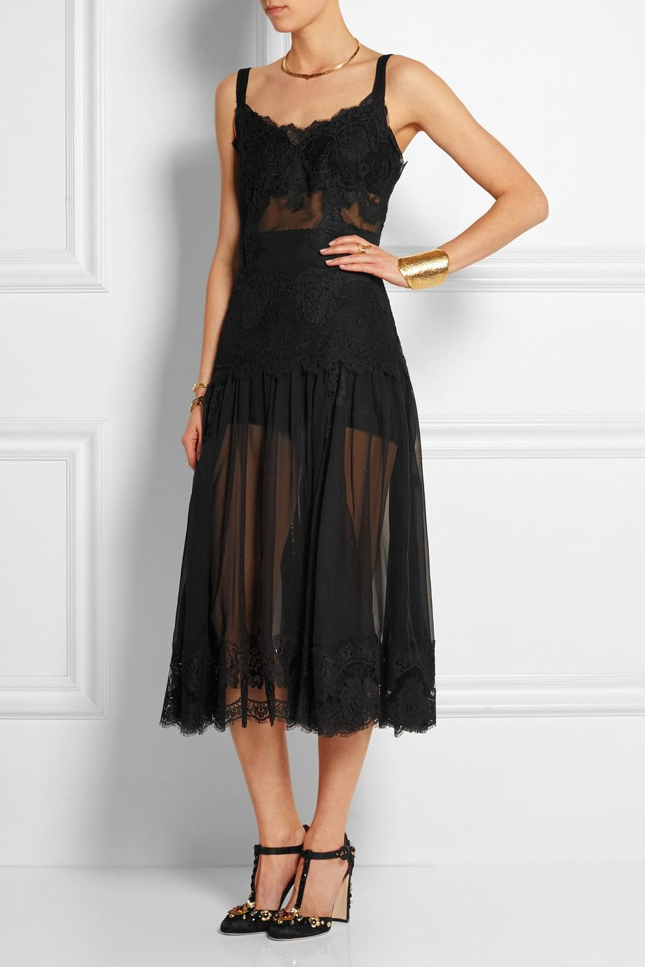 Dolce & Gabbana|Lace and silk-blend chiffon midi dress|NET-A-PORTER.COM