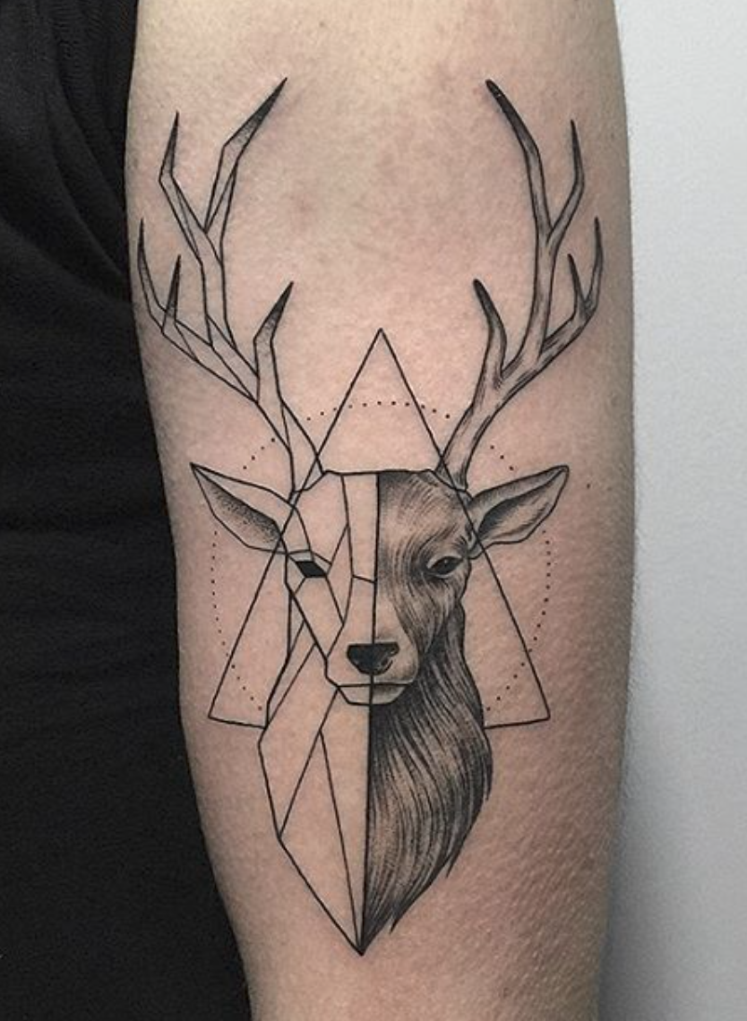 geometric deer tattoo ink pinte rh pinterest com show me pictures of deer tattoos pictures of deer track tattoos