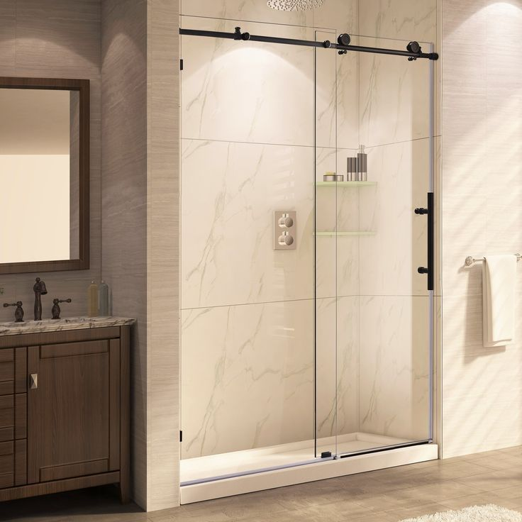 Trident Mocha 60 X 62 Single Sliding Shower Door With Images