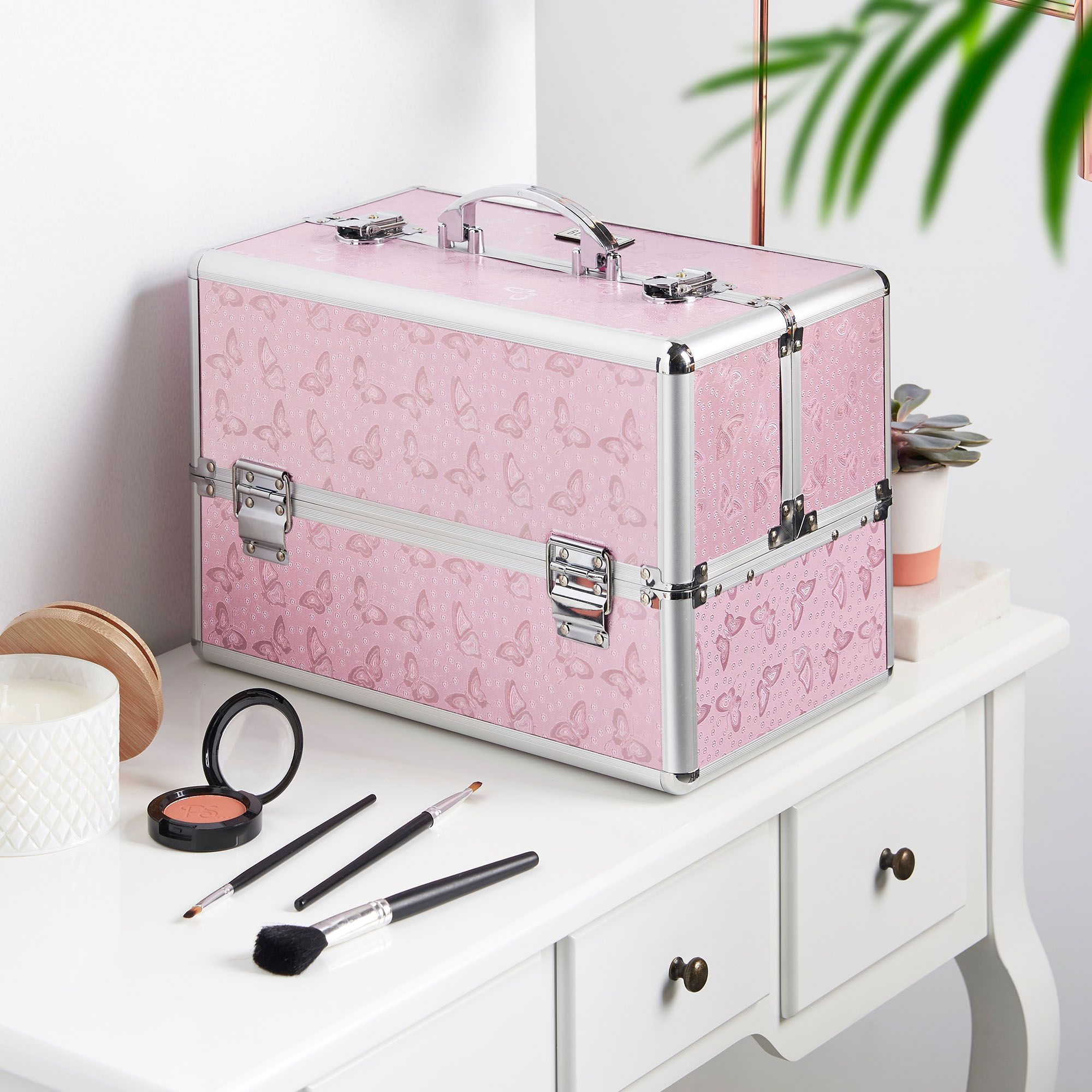 Beautify Large Pink Butterfly Professional Makeup Cosmetic Organizer Train Case 14 Lockable Storage Box With Makeup Organization Makeup Case Makeup Train Case