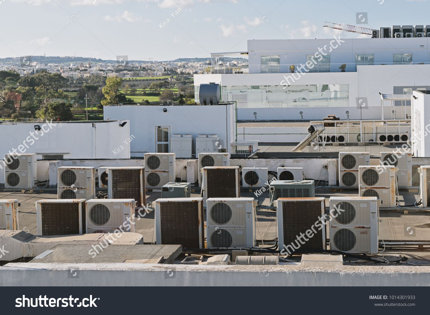 View of Exhaust vents of industrial air conditioning and