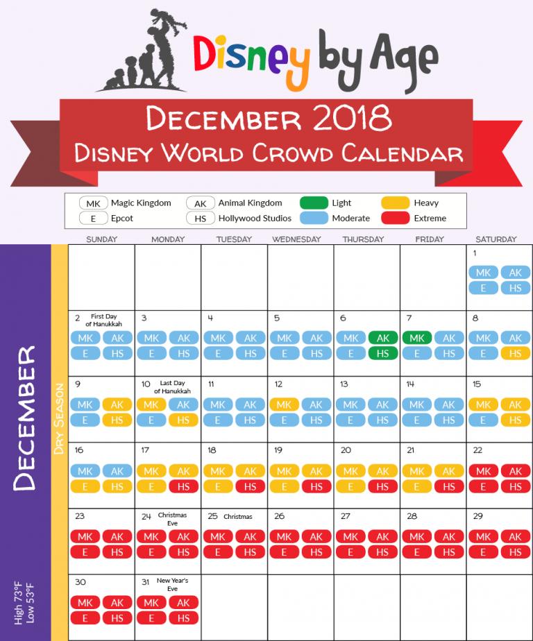 December 2019 Wdw Crowd Calendar December 2018 Disney World Crowd Calendar | Disney in 2019