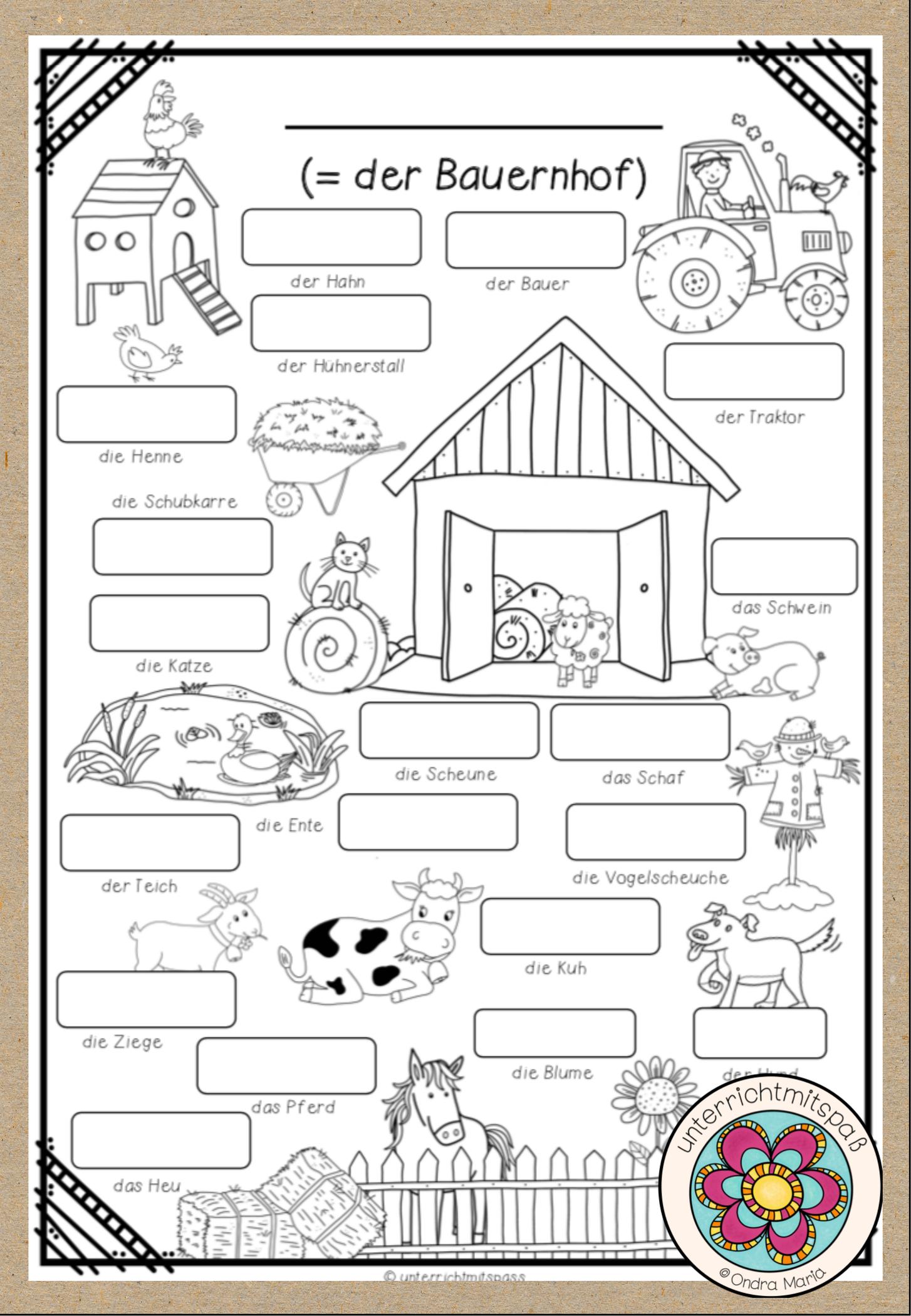Der Bauernhof Bildworterbuch Unterrichtsmaterial In Den Fachern Daz Daf Englisch Franzosisch Spanisch Bildworterbuch Worterbuch Unterrichtsmaterial