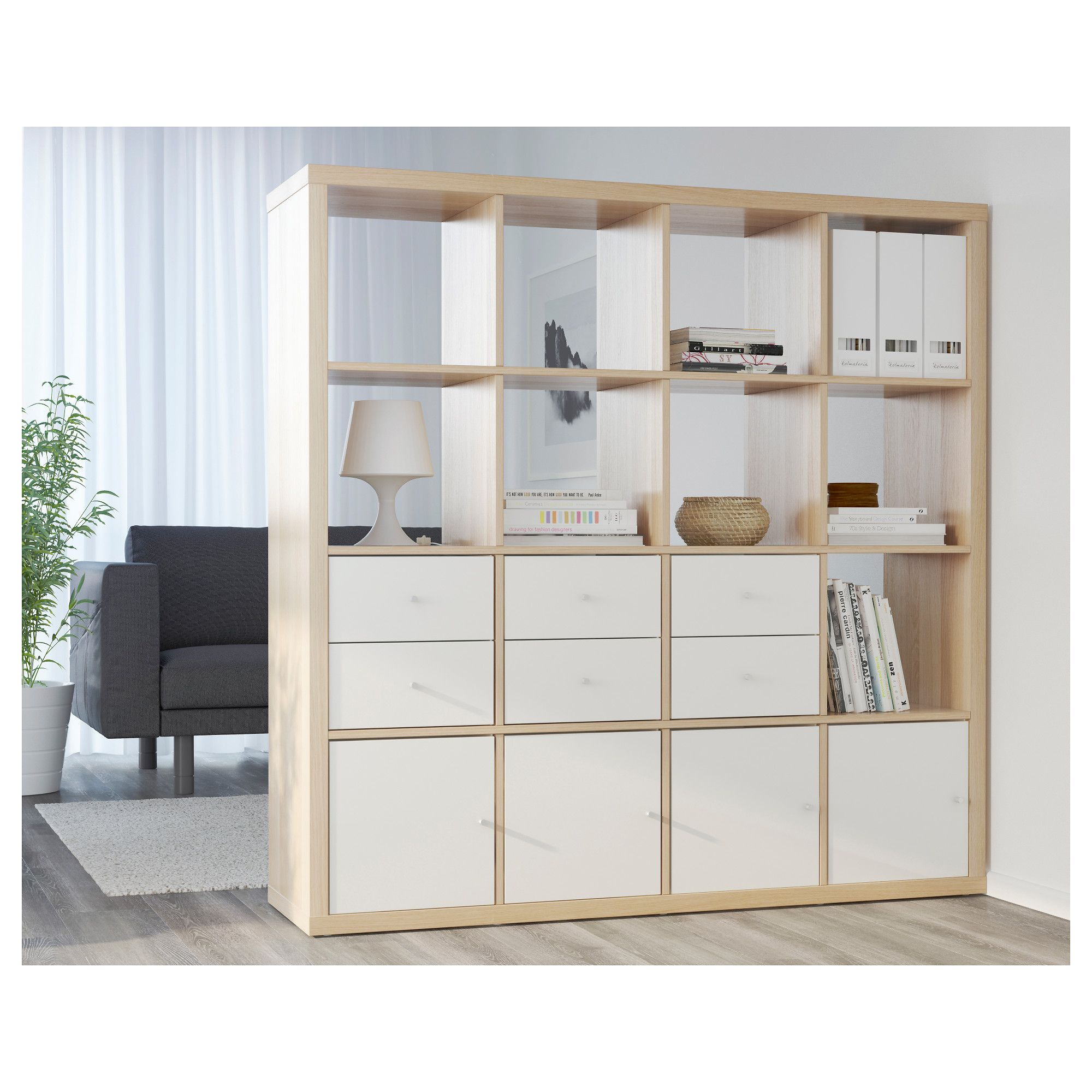 KALLAX Shelving unit/4 doors/castors White stained oak ...