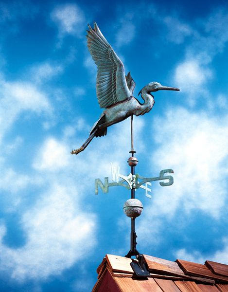 Polished Copper Heron Weathervane Includes Roof Mounting Bracket Weather Vanes Weathervanes Whitehall Products