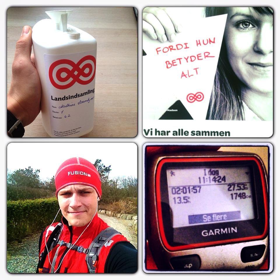 """Mathias: """"27,5 km i løbesko på kulhydrat og næstekærlighed! Der er langt mellem husene her i Vestjylland!"""" #landsindsamling #visflaget"""
