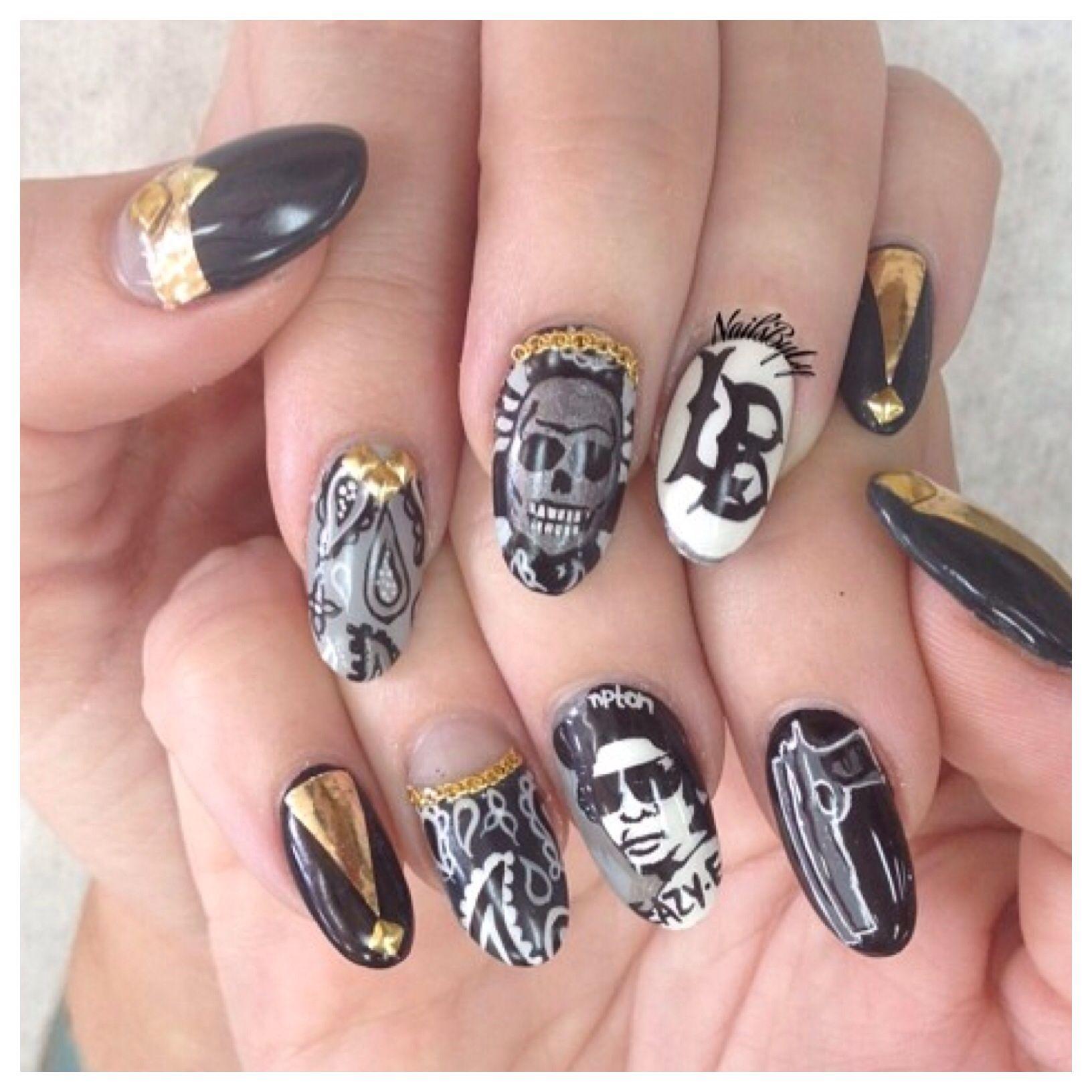 Easy e nail art. Gangster, black and white, gun, long beach, skull ...