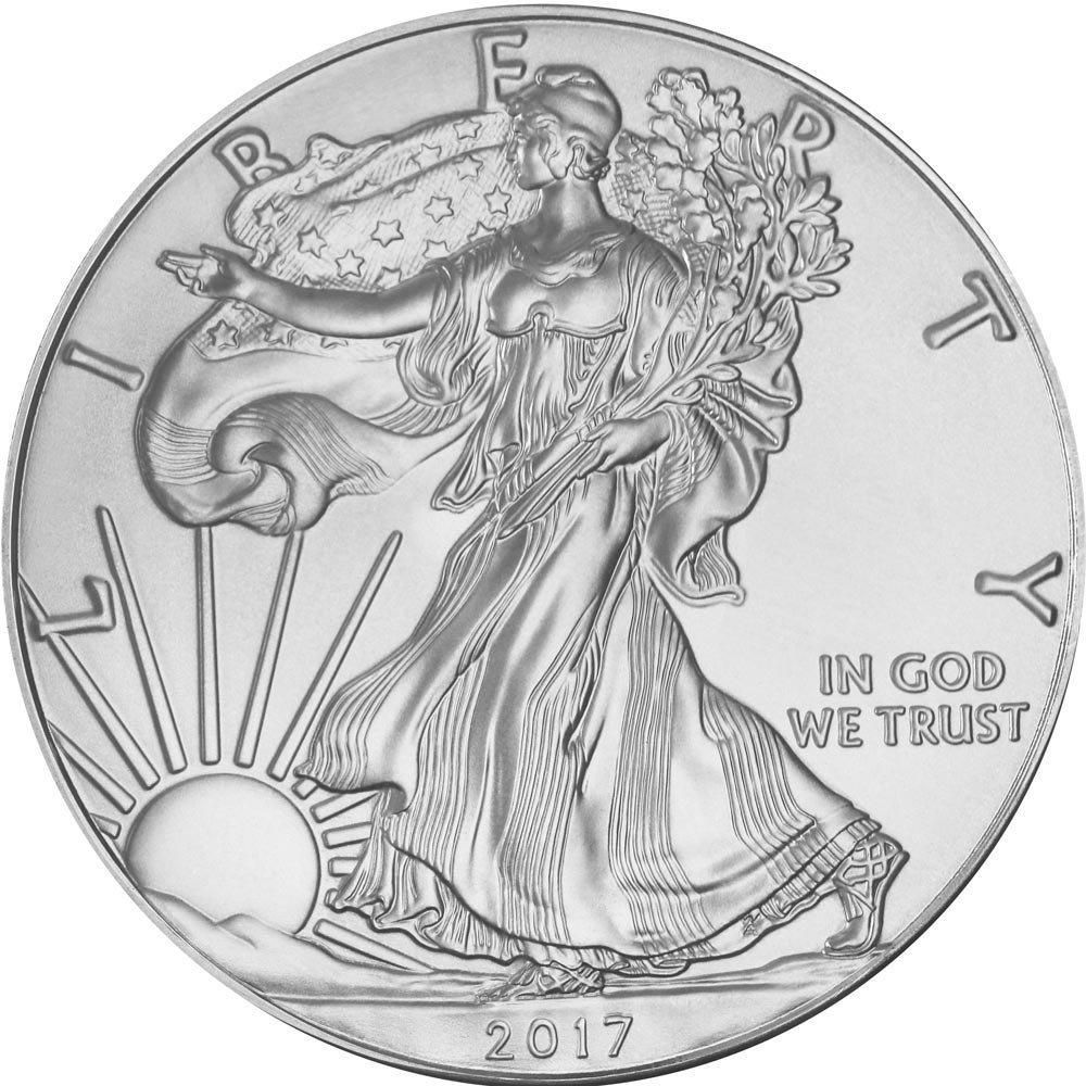 Oz Silver American Eagle Coin Mirror effect