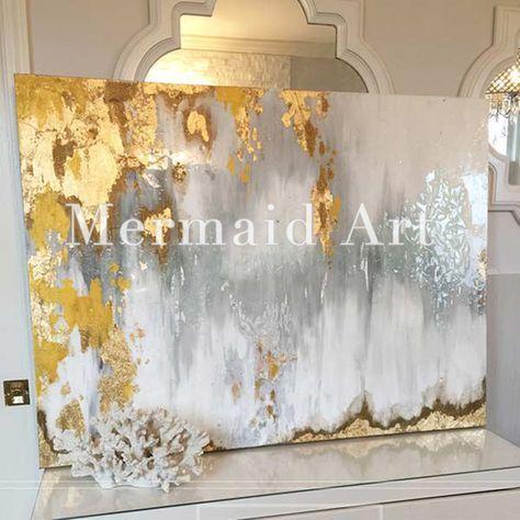Handgemalte Bilder handgemalte abstrakte gold leaf kunst mit grau und weiß ombre bilder