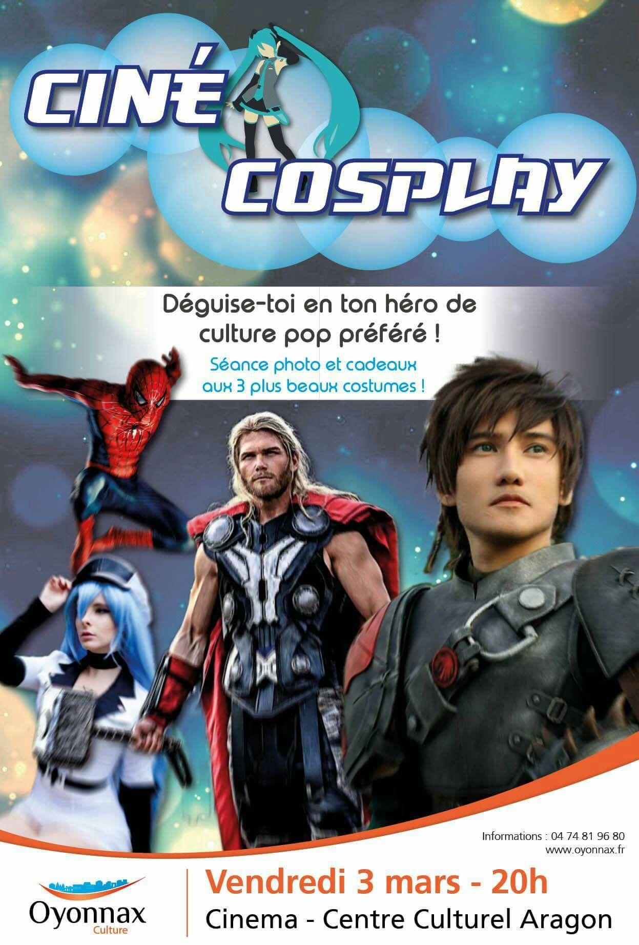 Affiche événement ciné cosplay réalisé au Centre Culturel Aragon à Oyonnax