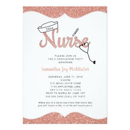 nurse graduation party faux glitter rose gold card graduation party invitations card cards cyo grad