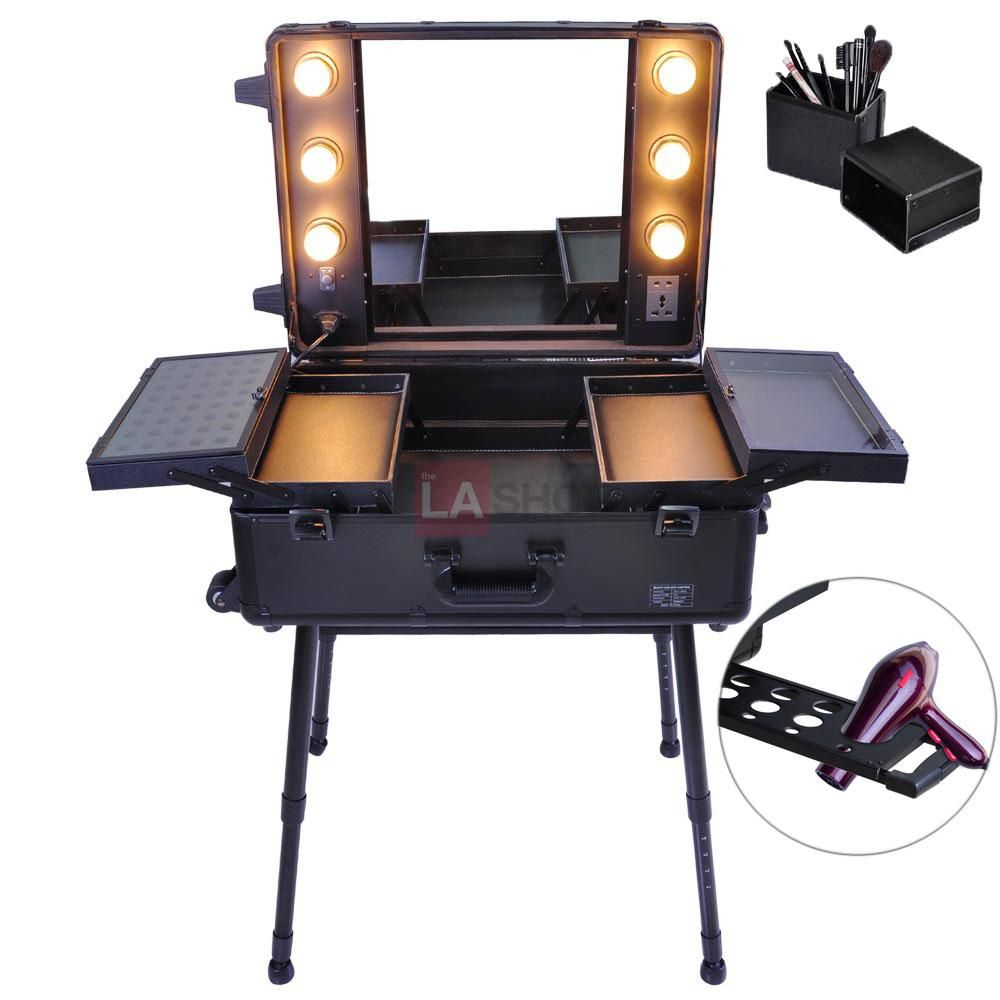 16 5x10x22 Artist Studio Pro Rolling Cosmetic Makeup Case W Lights With Images Makeup Case Cosmetic Train Case Rolling Makeup Case