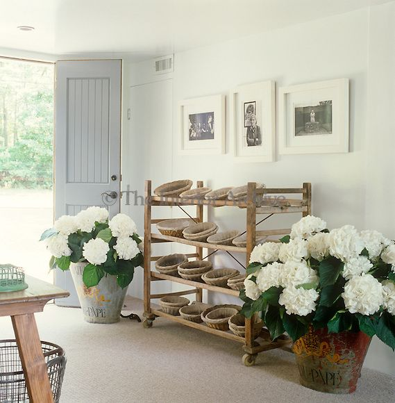 collection of baskets on rustic shelves