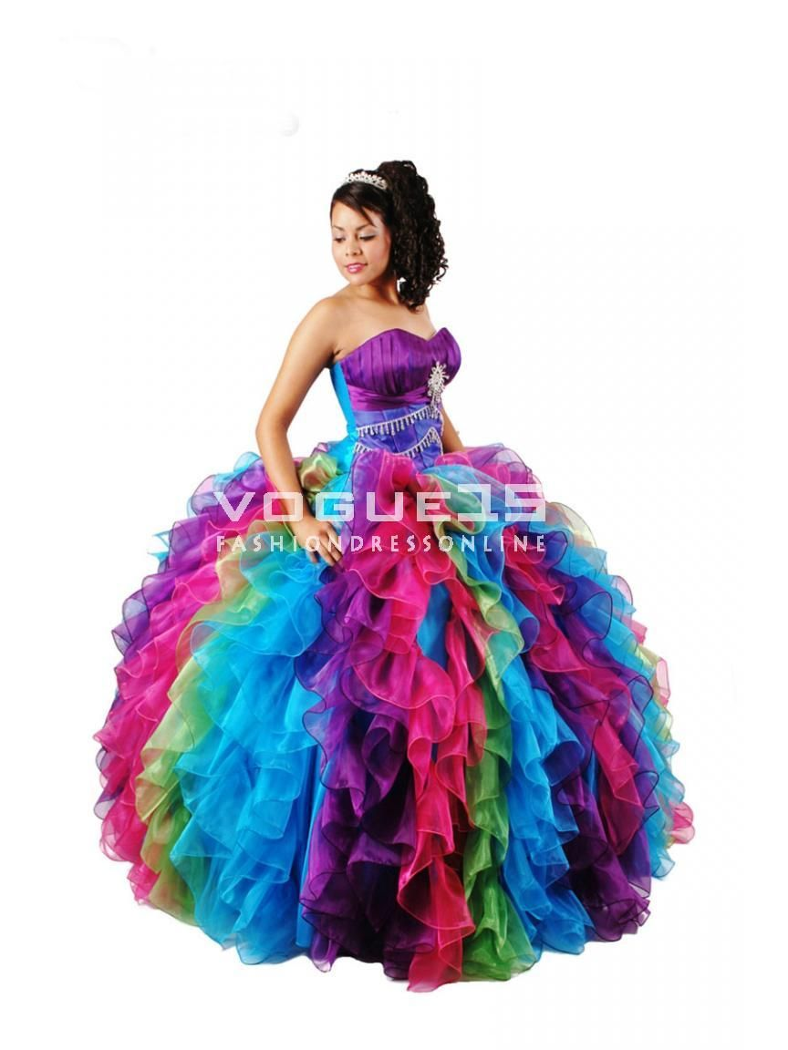 multicolor dress | ... beaded multi-color puffy corset quinceanera ...
