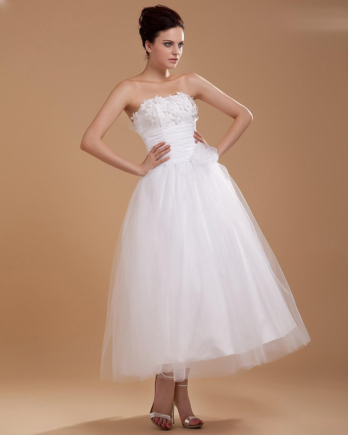 Strapless ankle length organza wedding dress ball gownankle length