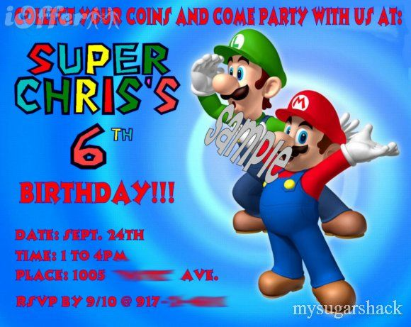 super mario birthday party ideas – Super Mario Bros Party Invitations