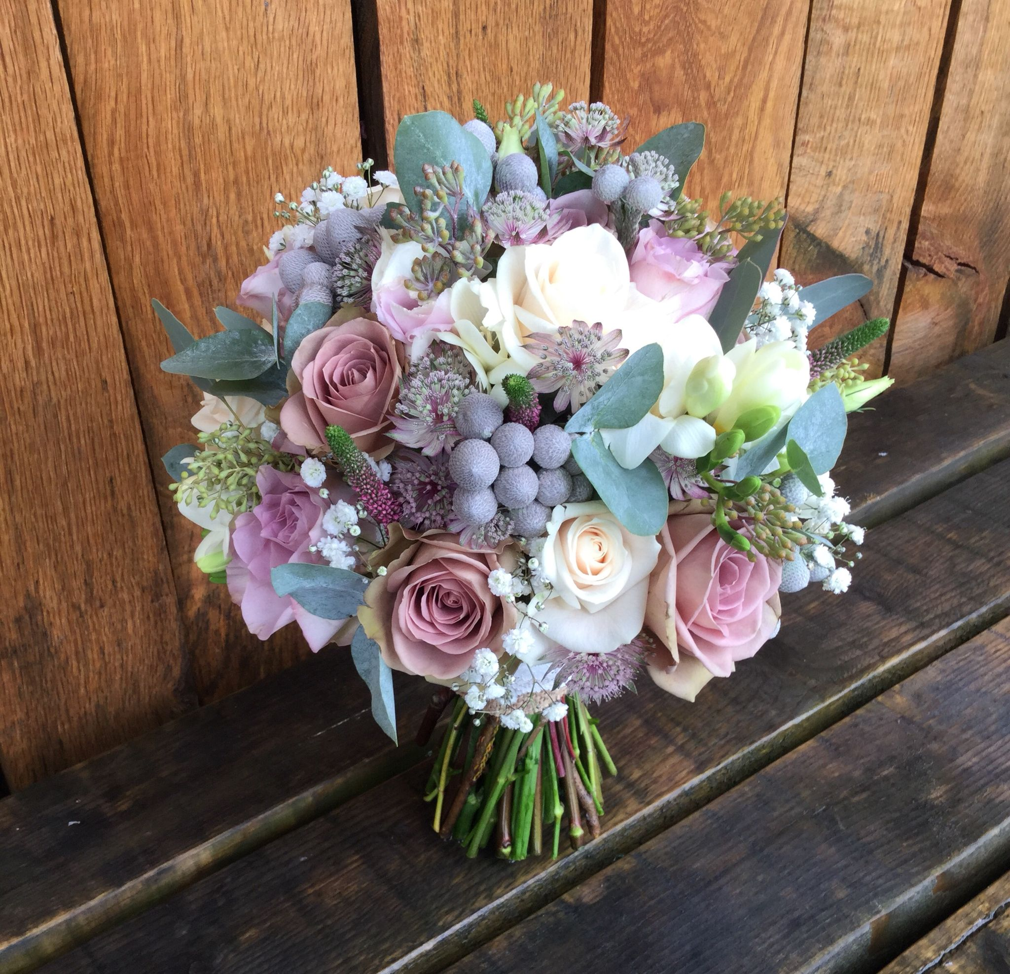 Pale Pink Wedding Flower Bouquets: Vintage 'amnesia ' Roses , Grey Foliages , Pale Pink
