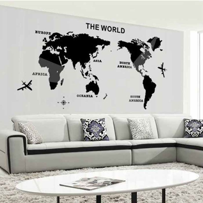 3d world map mirror wall stickers art background wall acrylic