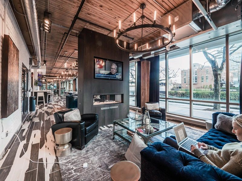 The Recently Completed Amenities At These Boutique Loft Apartments Include A Riverfront Slip Lounge With Bespoke Style Iron Chandeliers And Reclaimed