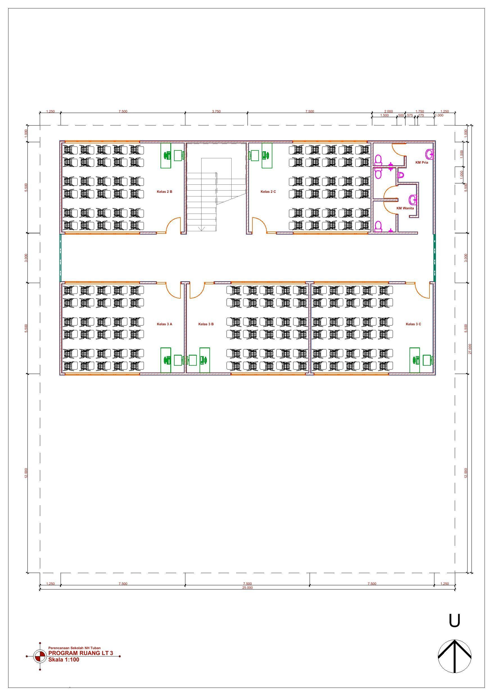 Desain Gedung Sekolah 3 Lantai : desain, gedung, sekolah, lantai, Denah, Sekolah, Lantai, Desain,, Sekolah,, Gambar, Arsitektur