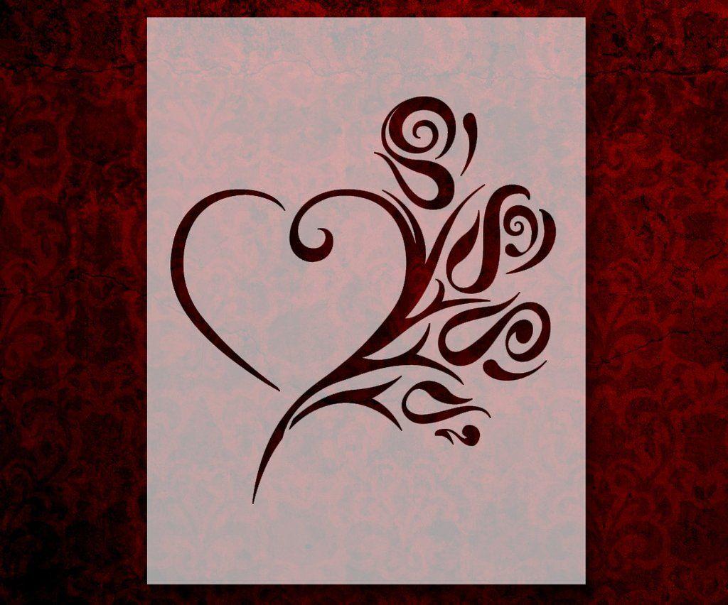 Tribal Heart Rose Stencil (600) | Tribal heart, Rose stencil, Stencils