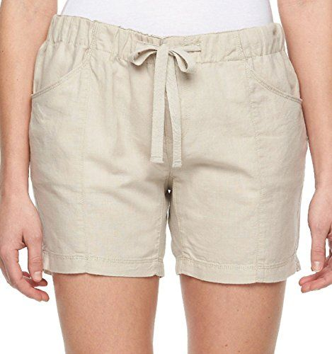 Columbia Sportswear Womens Bonifay Brook Linen Blend Shorts Large Fossil  >>> Click on the