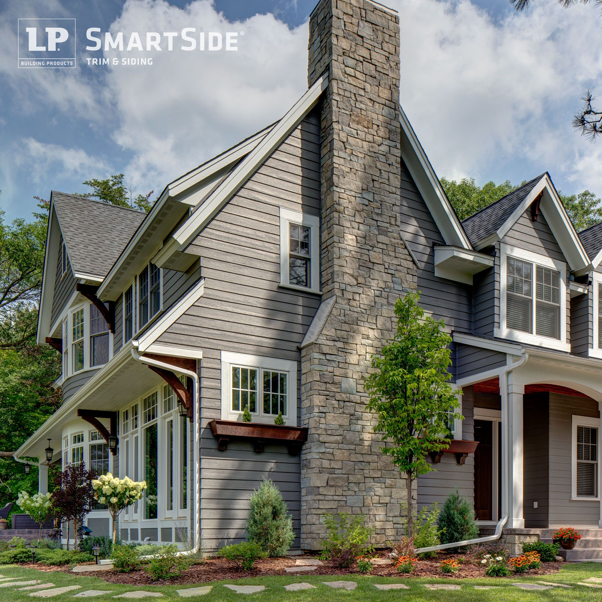 Lp smartside trim soffit and lap siding complement the for Smartside engineered wood siding