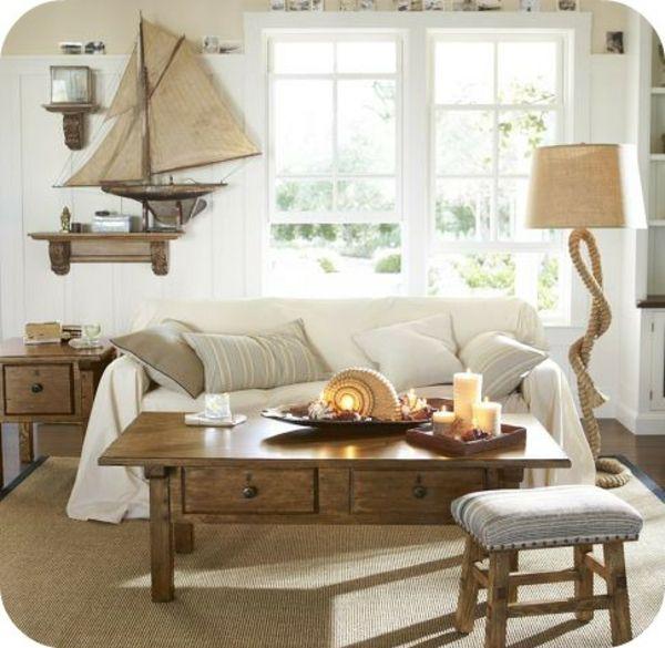 deko ideen holztisch rustikal seemuschel kerzenhalter wohnzimmer deko rustikal - Wohnzimmer Deko