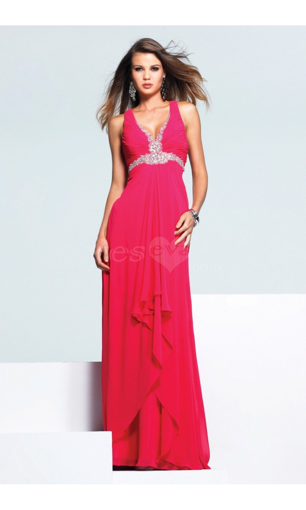 Charming aline low vneck empire chiffon long prom dresses with