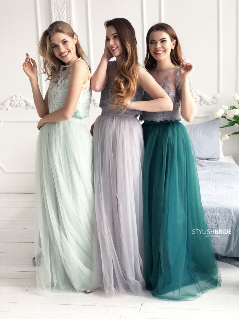 1963b610acb3f Belle Dress Tulle Set Lace Crop Top with Sleeves and Tulle skirt ...