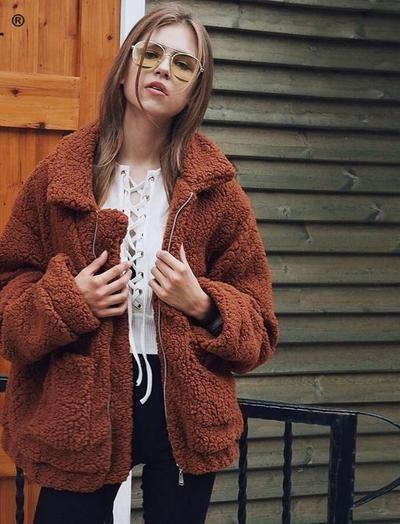 d7dbcb666a5 Nadafair plus size fleece faux shearling fur jacket coat women autumn winter  plush warm thick teddy coat female casual overcoat