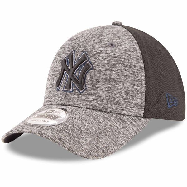 0e07153bdce Men s New York Yankees New Era Heathered Gray Black Shadowed Team Logo  9FORTY Adjustable Hat