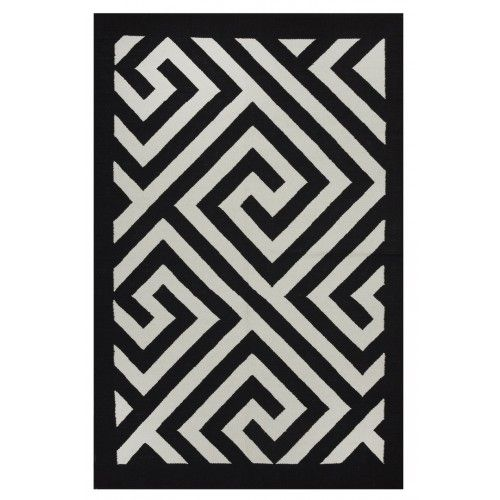 Chic Black And White Enchanted Maze Pattern Rug Flat Weave Eco Friendly Rug Hand Woven Using Recycled Cotton N Black White Rug Geometric Area Rug White Rug