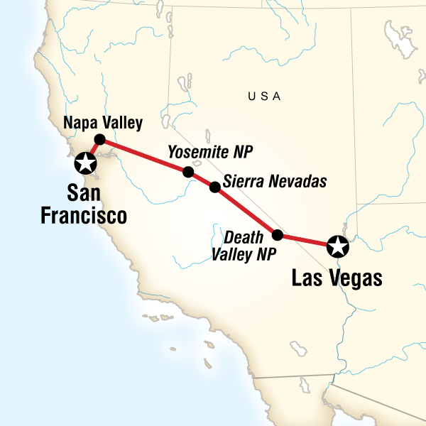 Map of the route for Yosemite Park & Napa Valley – San Francisco Yosemite Route Map on yellowstone route map, camino de santiago route map, denali route map, pacific crest trail route map, grand canyon route map, london tube route map, smith rock route map, mt whitney route map, tour du mont blanc route map,