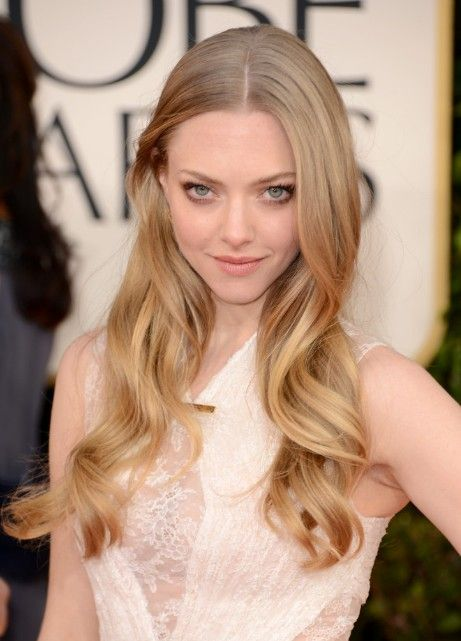 Golden Globe Awards 2013 Amanda Seyfried Center Parted Hairstyle Blonde Hair Color Hair Styles Hair Color Guide