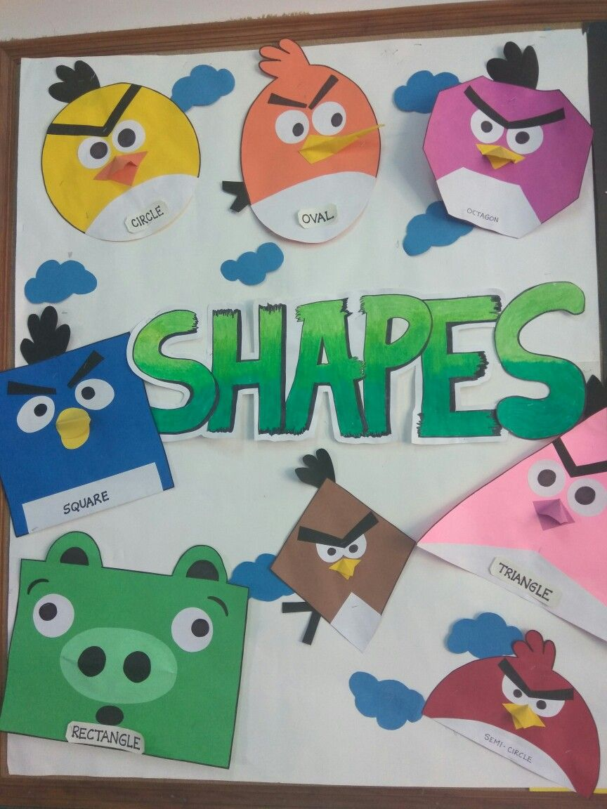 Angry birds theme shape board | Shapes Display Board | Pinterest ...